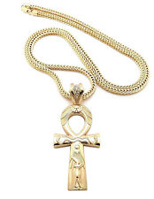 Egyptian Ankh Cross Pendant Charm Long Franco Chain Necklace Fashion Jewelry