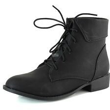 Women Military Combat Bootie Fold-Down Ankle High Casual Lace Up Cowboy Boots