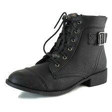 Women Military Combat Ankle Bootie Buckle Strap Casual Lace Up Cowboy Boots