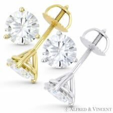 2.00ct Round Cut Moissanite Charles & Colvard Martini Stud Earrings in 14k Gold