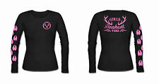 Womens Long Sleeve Hunting t shirt,Girls cant what? shirt,bow huntress,pink,deer