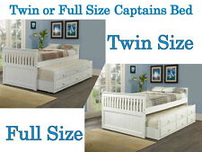 Captain's Bed with Trundle and Drawers - Includes Free Slat Kits