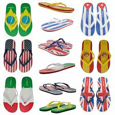 NEW MENS CASUAL SUMMER BEACH FLIP FLOPS SANDALS AMERICA ITALY SPAIN BRAZIL FLAGS
