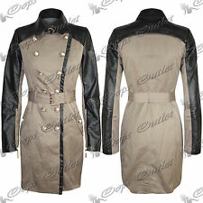 Womens Ladies Buttons Long Sleeves Belted PVC Collor Coat Long Jacket Top Size