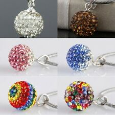 1Pc Crystal Rhinestone 925 Sterling Silver 10mm Ball Bead Pendant Charms Jewelry