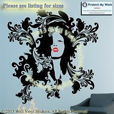 WOMAN HAIR BEAUTY SALON LIPS FACE WALL WINDOW STICKER DECAL BUSINESS ART BIG 27