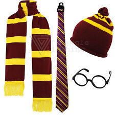Mens Womens Kids Harry Potter Gryffindor Fancy Dress Scarf Round Glasses Hat