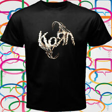New Korn skull hand logo Metal Band Men's Black T-Shirt Size S to 3XL