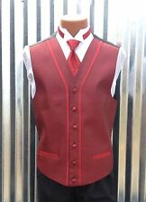 """After Six - Red """"Harmony"""" Tuxedo Vest & Tie Set - All Sizes"""