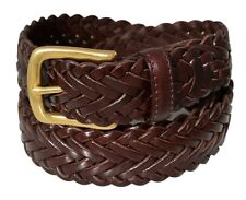 796 - Men's Nautical Woven Brown Tan Black Braided Leather Belt & Brass Buckle