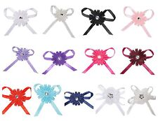 Pack 12 Pre Tied Satin/Organza Daisy Ribbon Bows Wedding Stationery Crafts