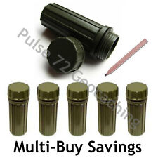 Green Waterproof Micro Geocache Container For Geocaching - Includes Log + Pencil