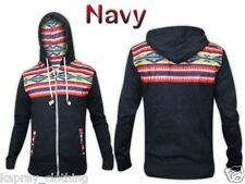 NEW MENS  AZTEC PRINT DESIGNER HOODY HOODED JUMPER FULL ZIP JACKET FLEECE TOP