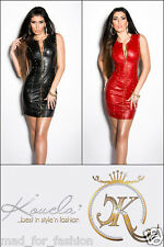SEXY LEATHER LOOK MINI DRESS WITH STUDS.