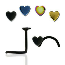 Nose Ring Screw Anodized Steel w/ Various Color Heart Tops for Pierced Nose USA*