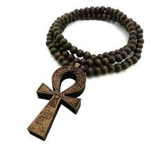 "MEN'S GOOD WOODEN JAY Z ANKH CROSS CHAIN 8mm BEAD 36"" NECKLACE JW33BA"