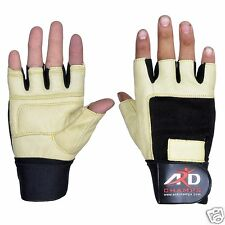 Heavy Duty Leather Weight Lifting Gloves Exercise Training Gym Yellow shade