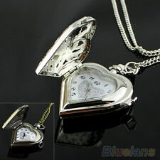 Hollow Heart-Shaped Silver Bronze Pocket Watch Ideal Necklace Pendant Chain B64U