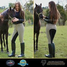 Full Leather Seat Ladies Breeches Olive Check Womens 4-Way Stretch Riding Pants