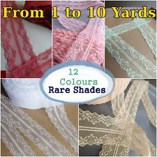 VINTAGE Ivory white Pink LACE RIBBON 40mm BRIDAL Classic decor florist per Yard