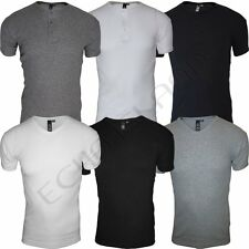 Mens Slim Fit Ribbed Button Up & V-Neck T-Shirt Cotton Short Sleeve Muscle Tops