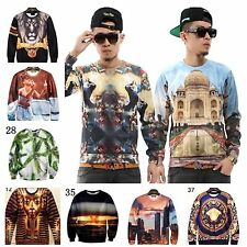 Women Men 3D Animal Figure Nature Ethnic Space Round Top Tee T Shirt S M L XL