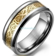 8mm Comfort Fit Tungsten Wedding Men's Band Ring Celtic Dragon Gold Inlay Gifts