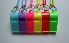 Plastic Whistle Referee Lifeguards Sports Blowing Whistles with Coloured String