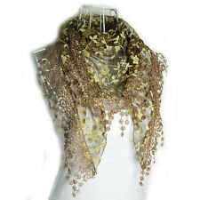 Autumn Summer Womens Embroidery Rose Lace Triangle Pendant Scarf Shawls Wraps