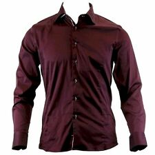 TR Premium Men's TR-572 Slim Fit 100% Cotton Burgundy Button Down Dress Shirt