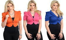 Lady Sexy Plus Size Slim One Button Bolero Top Blouse Office Casual Jacket