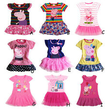 Baby Toddler Girls Peppa pig Cotton Short sleeve T-shirt Dress Clothes Outfit