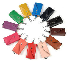 Genuine Cowhide Leather Women's Men's Unsex Door/Car Key Chain Ring Case Holder