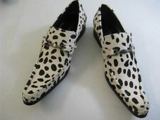 New Fiesso White/Black Pony Hair Print Pointed Toe Leather Slip on Shoes FI 6649