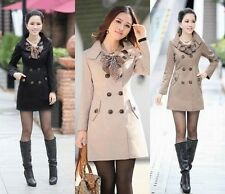 HOT Womens Slim Fit Trench Coat Jacket Scarf Outwear Dress Long Double-Button