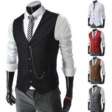 NEW Stylish Mens Slim Casual Vest Designed Metal Chain Business Waistcoat M~2XL