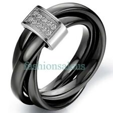 3mm Black Ceramic Rope w/ Silver Color Loop Tricyclic Women's Wedding Rings Band