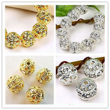 Gold/Silver Plated Bayberry ball rhinestone crystal spacer bead 50pcs
