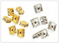 Gold/Silver Plated Square Rhinestone Crystal Spacer Bead A+ 100pcs