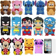 1 x 3D Cute Cartoon Silicon Soft Cover Case + Film For iPod Touch 4 4TH GEN 4G