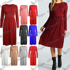 Womens Ladies Long Sleeves Flared Franki Swing Midi Skater Dress Top Plus Size