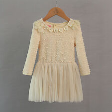 Boutique Cream Rose Neck Pretty Party Dress 2-7 Year