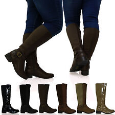 R1Y Womens Boots Ladies Under the Knee Mid Calf Extra Wide Elasticated New Size