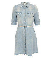 Darcey Denim Belted Pocket Detail Shirt Dress in Denim