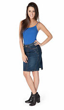 Denim Indigo Jean Skirt (SKIRT91) SKIRT91 Womens Jean Mini Skirt Midi