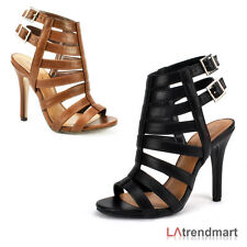 Women Open Toe Caged Strappy Stiletto Leatherette High Heel Sandal Shoes Purva