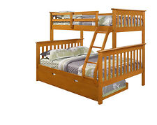 TWIN OVER FULL BUNK BED W/ OPTIONAL TRUNDLE AND/OR TENT - HONEY FINISH