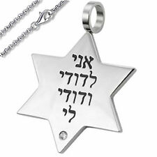 Stainless Steel Judaica Pendant w/ David Star& Hebrew Scripture (Chain included)