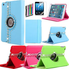Bling 360 Rotating Crystals Leather Case Cover For Apple iPad mini/iPad mini 2
