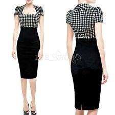 Womens Vintage Checked Colorblock Party Wear To Work Bodycon Sheath Pencil Dress